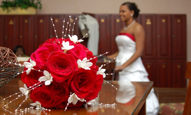 Bridal Bouquet on Table