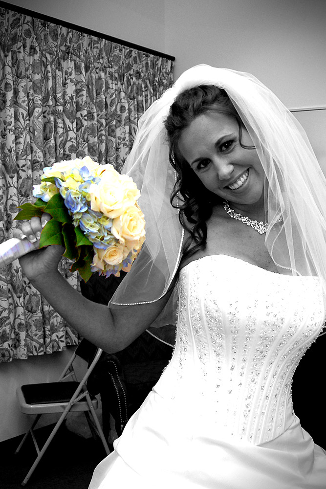 Bride Holding Bouquet - Hand Colored