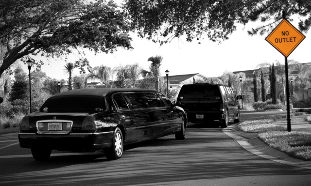Limos Arriving At Reception Site