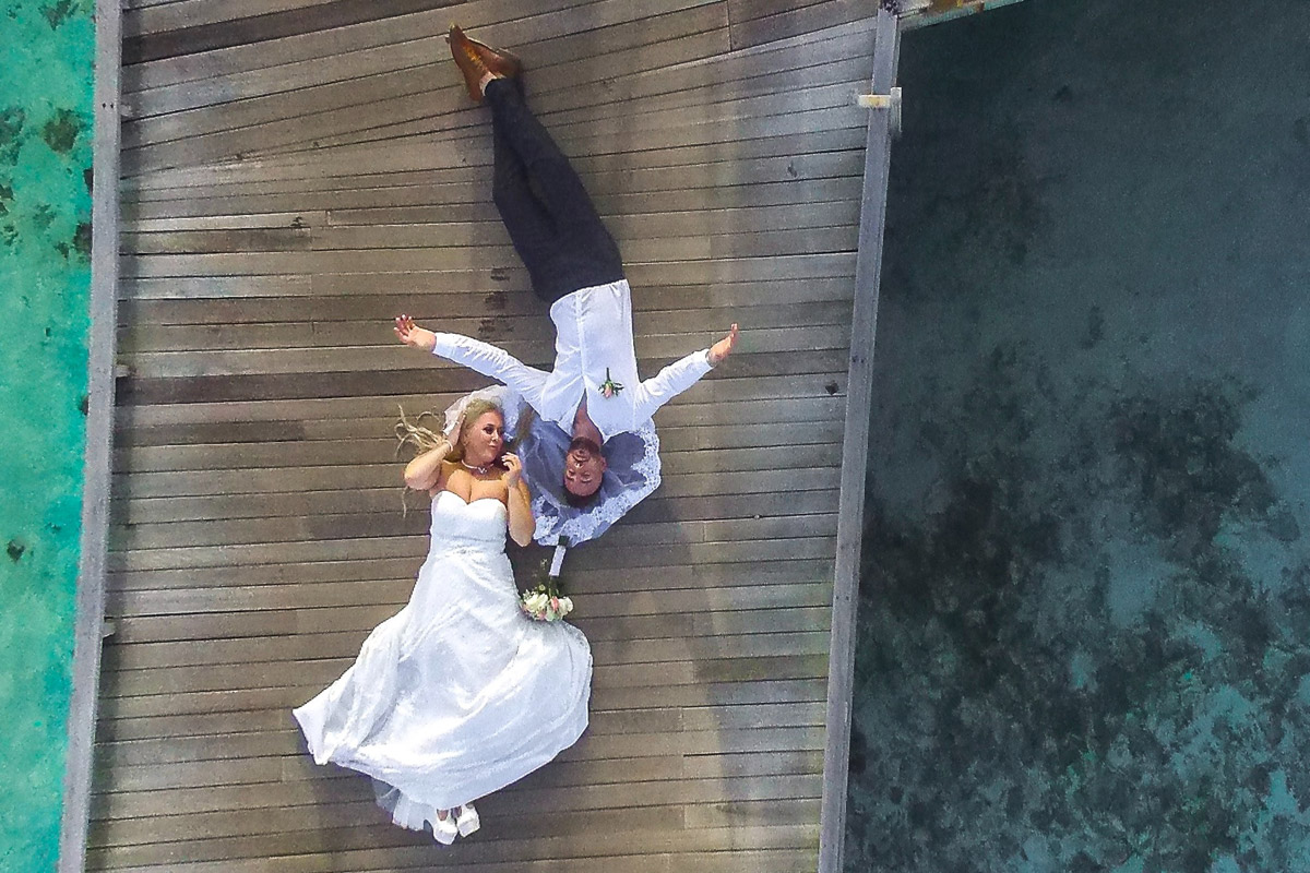 aerial wedding photographer Clearwater Beach FL